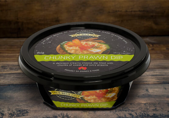 True Blue Seafood Dips, Chunky Prawn Gourmet Dip in tub set on timber background scene.