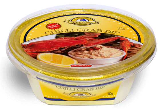 True Blue Gourmet Dips - Gourmet food manufacturing, old Chilli Crab Dip tub photo.