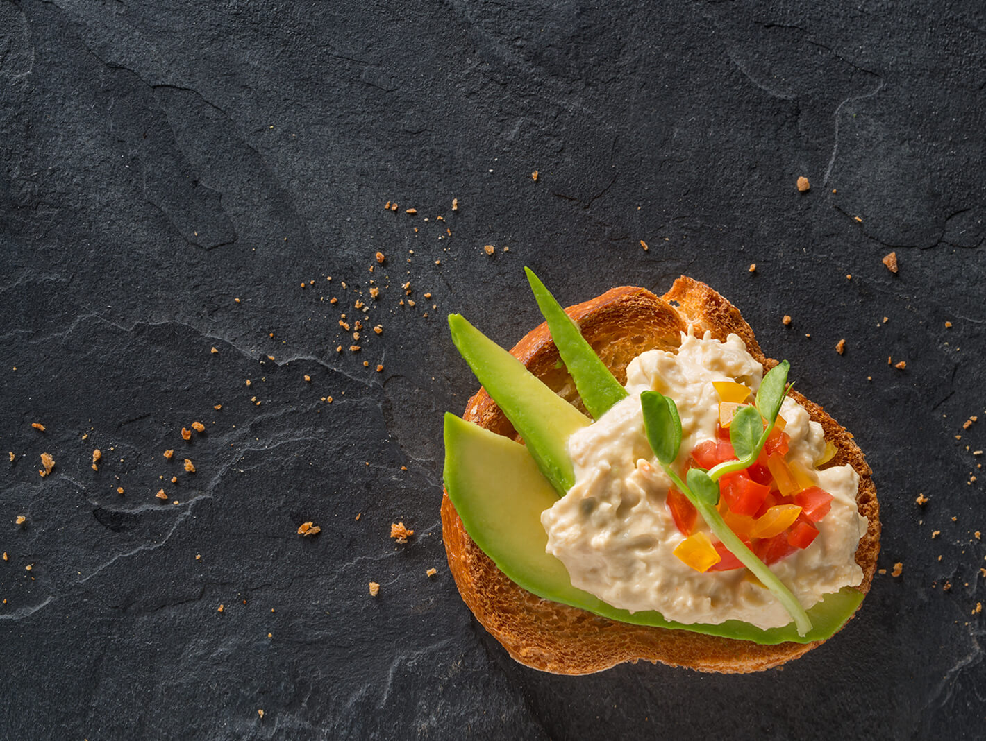 True Blue Seafood Dips, Arial photo of Prawn Avocado gourmet dip on a slice of crusty bread with sliced Avocado and diced Cucumber, set on a black slate background.